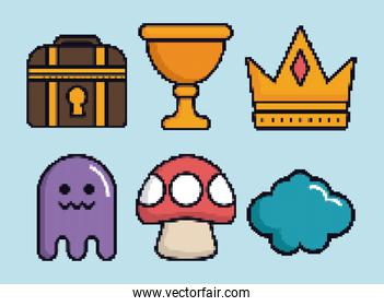 related icons of retro video games