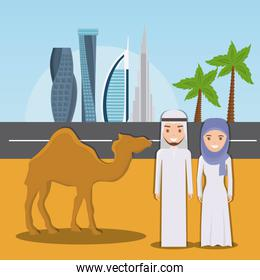 camel riders in the desert on the dubai city background
