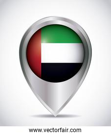 pointer with the national flag of united arab emirates