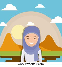landscape of dry desert with arabic woman