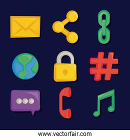set of social media icons