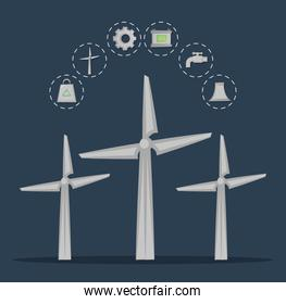 renewable energy from wind turbines clean energy concept