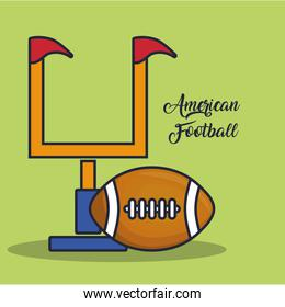 american football goal post and ball