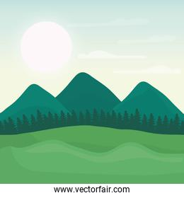 mountain landscape with forest design