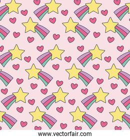 shooting stars and hearts background