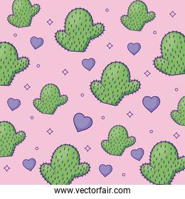cute cactus and hearts background