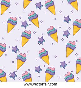 ice creams and stars background