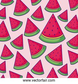 watermelons and tropical flowers pattern