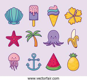 icon set of summer and cute concept