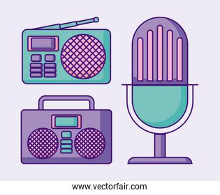 Retro microphone with boombox stereo and radio