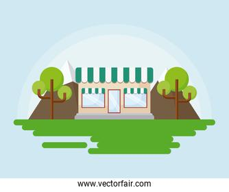 store and trees icon