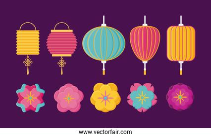 Chinese lanterns and flowers