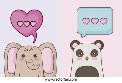 Kawaii animals and love design