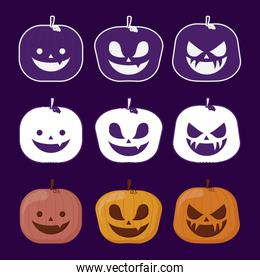 set pumpkins of happy halloween
