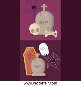 tombs with set icons halloween