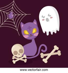 ghost with cat and icons halloween