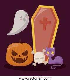 pumpkin with ghost and set icons halloween