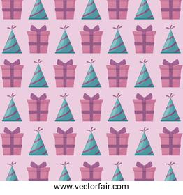 party hat with gift box present pattern