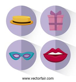 set accessories of party decorative