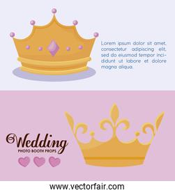 set monarchical crowns of queen and king