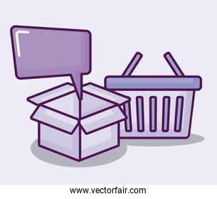 shopping basket with set icons finance