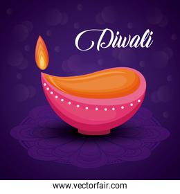 candle diwali festival isolated icon
