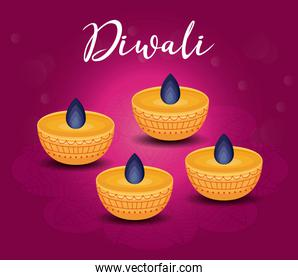 candles diwali festival isolated icon