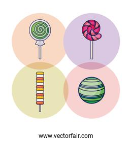 set of sweet lollipops and candies