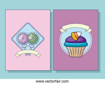 set of sweet lollipops and cupcake with ribbon