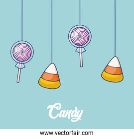 sweet candies and lollipops hanging