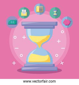 hourglass with economy and financial icons