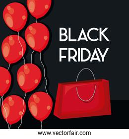 black friday label with bag shopping and balloons air