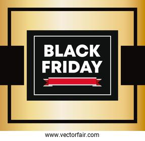 black friday label with ribbon icon