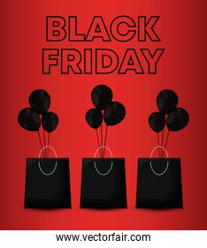 black friday label with bags shopping and balloons air