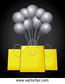 shopping bags with balloons air