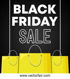 black friday label with bags shopping