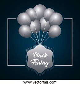 black friday label with balloons air