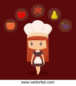 cute chef with set icons of thanksgiving day