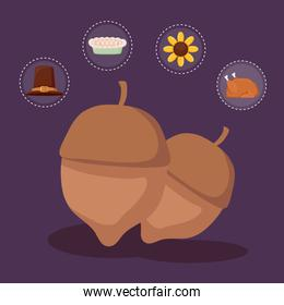 nut for thanksgiving day with set icons