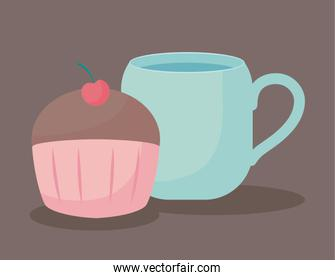 delicious cupcake with cup icon