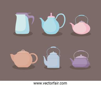 kitchen teapots pastel set icons