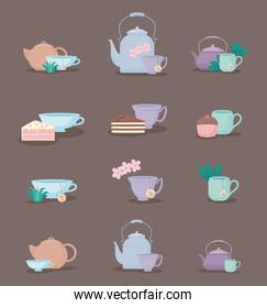 set of teapots and cups tea icon