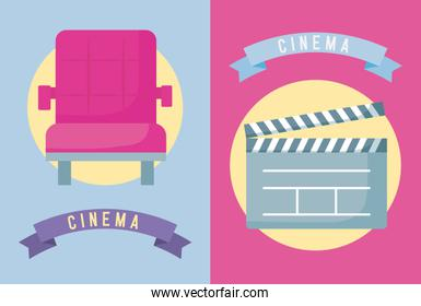 chair with clapboard cinema icon