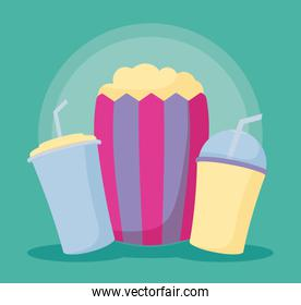 popcorn with bottles of drink