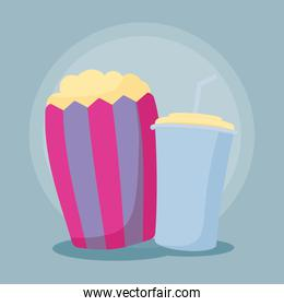 popcorn with bottle of drink