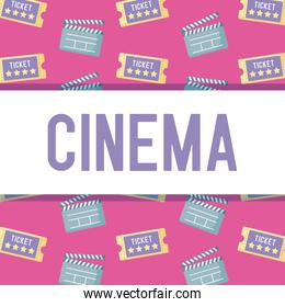 clapboard director with ticket of cinema pattern