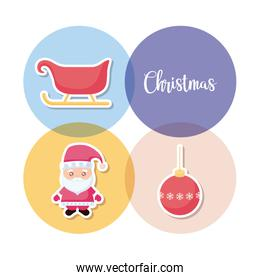 santa claus with set icons of christmas