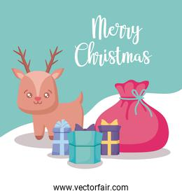 cute reindeer with gift boxes christmas
