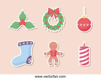 christmas sock with set icons