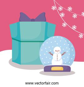 snowman in snowsphere and gift box of christmas